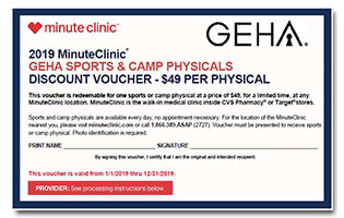 minuteclinic geha sports and camp physicals discount voucher