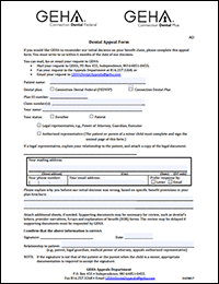 Thumbnail image of GEHA's Dental Appeal Form.