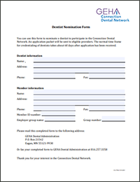 GEHA Dentist Nomination Form