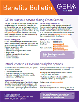 cover image for fall 2018 issue of geha's benefits bulletin newsletter for federal agency benefits officers