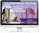 computer monitor showing the first slide in geha's retirement webcast